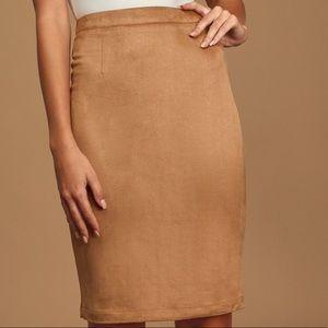 Tan suede pencil skirt